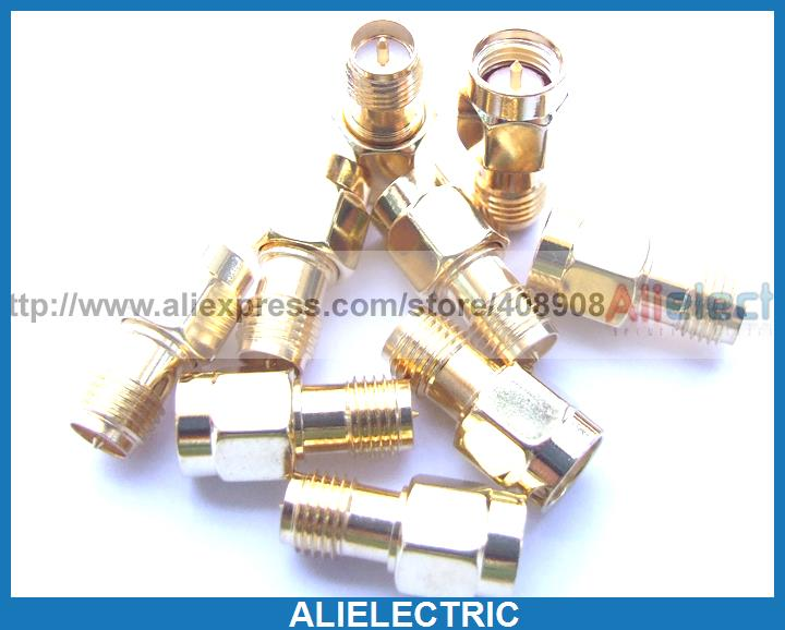 10pcs Gold Plated Copper RP SMA to SMA Plug RF Male Pin Coaxial Adapters 50pcs lot high quality gold plated sma screw nut for sma rf coaxial connector wholesale brand new
