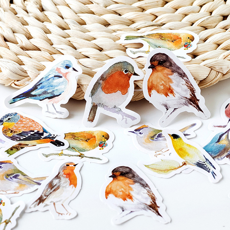 45 Pcs/box Cute Kawaii Birds Paper Stickers Bookmark DIY Decoration Diary Scrapbooking Sticker Escolar Stationery Materials