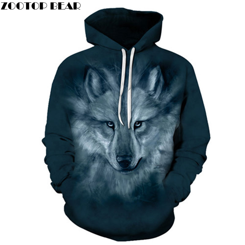 Wolf Hoodies Sweatshirts Men Tracksuit 3d Hoodies Men Hooded Pullover Autumn Winter Hoodie Printed Coat Drop Ship ZOOTOP BEAR