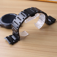 Black Watchbands Curved End 22mm Solid Links Stainless Steel Butterfly Buckles High Quality Metal For Brand