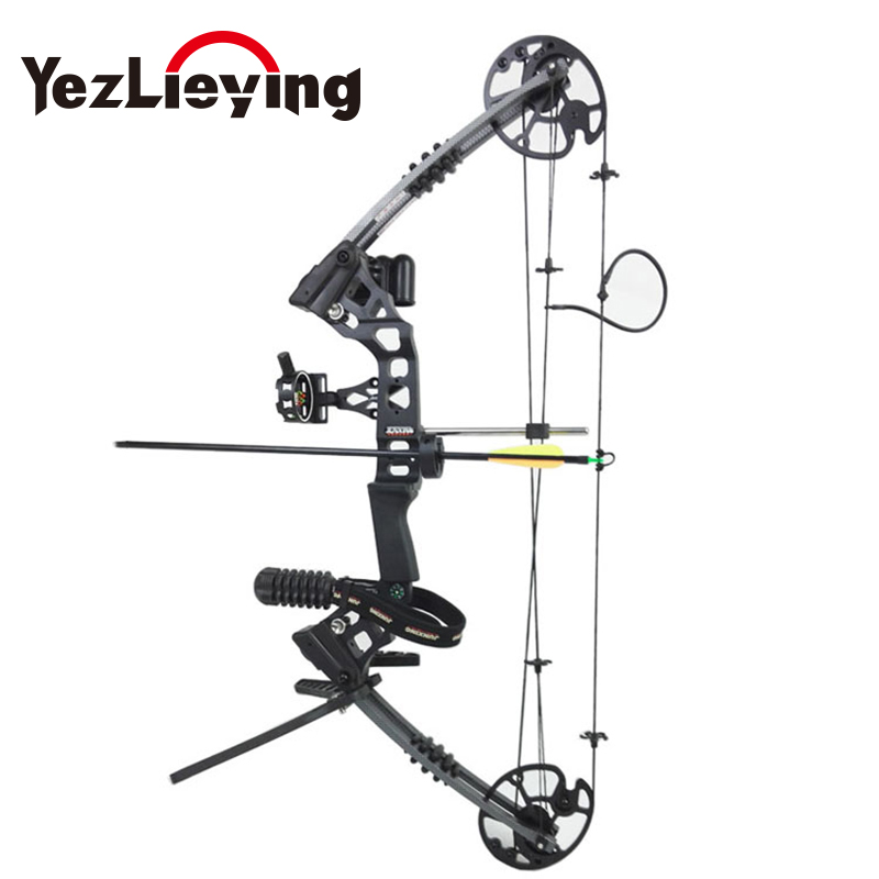 Hunting pulley aluminum alloy composite bow with 20-70 pounds drawing weight bow archer equipment pulley outdoors multifunctional professional handle pulley roller gear outdoor rock climbing tyrolean traverse crossing weight carriage fit