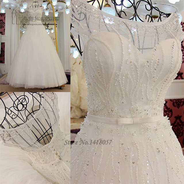 Vestido de Noiva Vintage Wedding Dress Princesa Wedding Gowns Beads Crystals Sequined Bride Dresses 2017 Real Brautkleid Boda