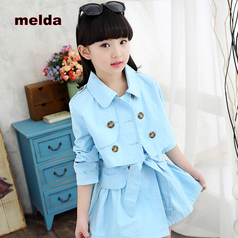 melda New Spring Autumn Girls Sets Fashion Solid Color Long-sleeved Coat + Dress Two-piece Sets Children Clothing Female Suits digifriends интерактивная игрушка сова hoot с домиком