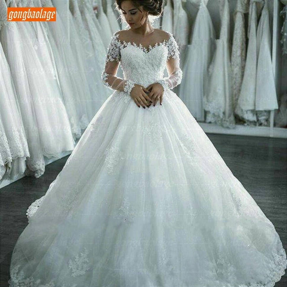 Graceful Ball Gown White Wedding Dress Long Sleeve 2019 Vintage Princess Applique Lace Wedding Gowns Tulle Ivory Bridal Dresses