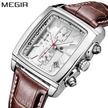 2017 reloj Megir reloj de los hombres de la marca de lujo de marca masculina de negocios relojes de pulsera cronógrafo impermeable plateado cuarzo reloj de los hombres