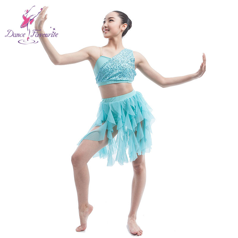 Lyric lyrical dance dresses : pale blue sequin spandex top bodice with separated skirt ballet ...