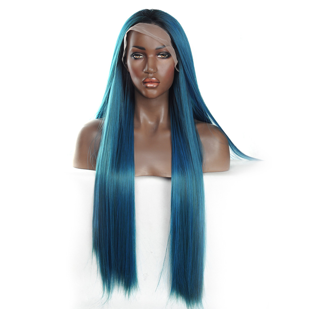 VNICE Ombre Mix Blue and Green Synthetic Lace Front Wig Silky Straight Lace Front Synthetic Wigs