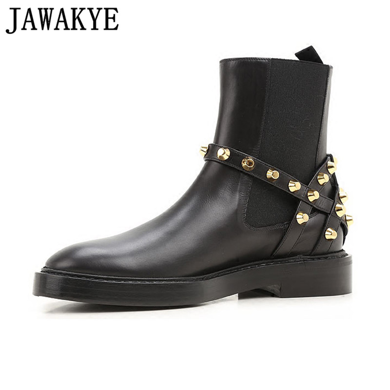 2018 Punk style shoes women rivets studded genuine leather Ankle Boots for women Round toe Strap buckled martin short boots 2018 punk style boots women rivets studded genuine leather ankle boots pointy toe shoes strap buckled martin short boots