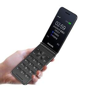 Image 2 - מקורי פיליפס E256S 2.4 inch 1300mAh סוללה אחת מצלמה רדיו FM Dual SIM 2G flip מקלדת טלפון מהיר חינם