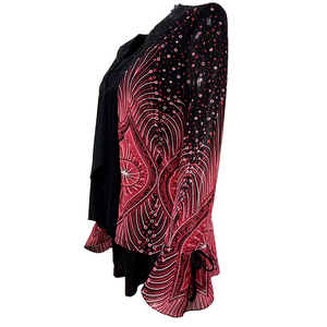 Image 2 - Yitonglian kadın artı boyutu hırka Vintage V boyun dantel çiçek baskı Patchwork bluz uzun kollu tunik üst 5xl 6xl 7xl 8xl H020