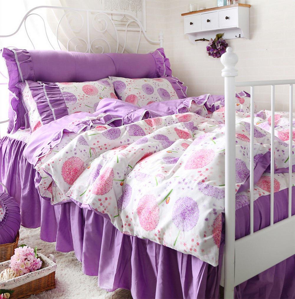romntica princesa prpura floral juegos de cama twin completa reina rey algodn dobles ropa