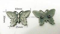 Diy 10 unids 43 MM mariposa antiguos clavos de plata del remache mancha pico accesorios de arte del cuero de envío libre