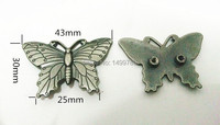 DIY 10PCS 43MM Butterfly Antique Silver Studs Rivet Spot Spike Belt Bag Accessories Leather Craft Shipping Free