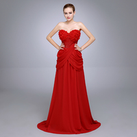 Best Selling Sweetheart Top Flowers Chiffon Beaded Evening Party Dress robe de soiree With Slit Red Prom Dresses