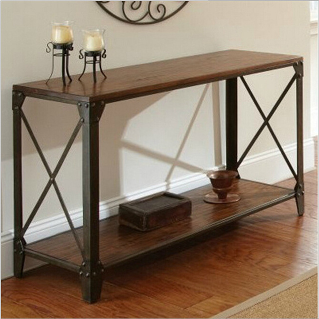 American Country Wrought Iron Wood Console Table Desk Side Table