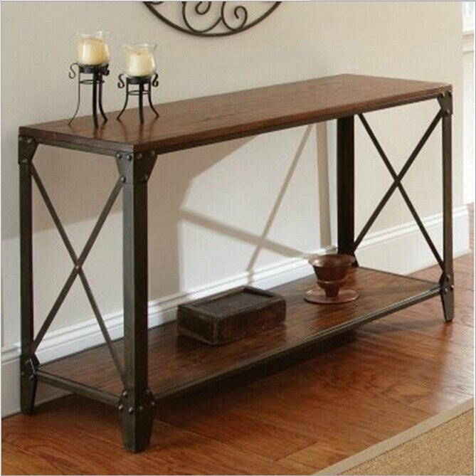 US $1019.0 |Paese americano in ferro battuto consolle in legno scrivania  tavolino ingresso soggiorno artigianato in metallo-in Tavolini da caffè da  ...