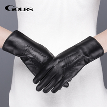 Gours Echtem Leder Handschuhe für Frauen Winter Warm Schwarz Klassische Schaffell Finger Touchscreen Handschuhe Mode Handschuhe Neue GSL071
