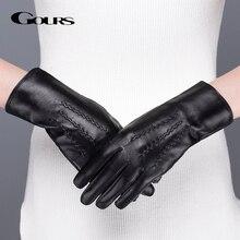 Gours本革女性の冬の暖かい黒の古典的なシープスキン指タッチスクリーン手袋ファッションミトン新GSL071