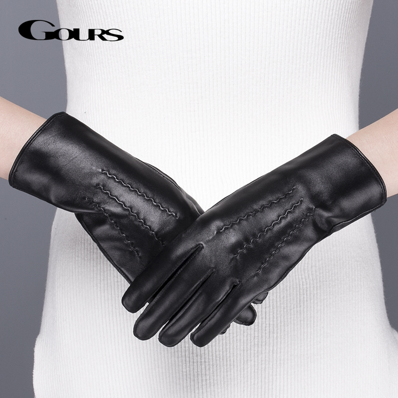 Gours Genuine Leather Gloves For Women Winter Warm Black Classic Sheepskin Finger Touch Screen Gloves Fashion Mittens New GSL071
