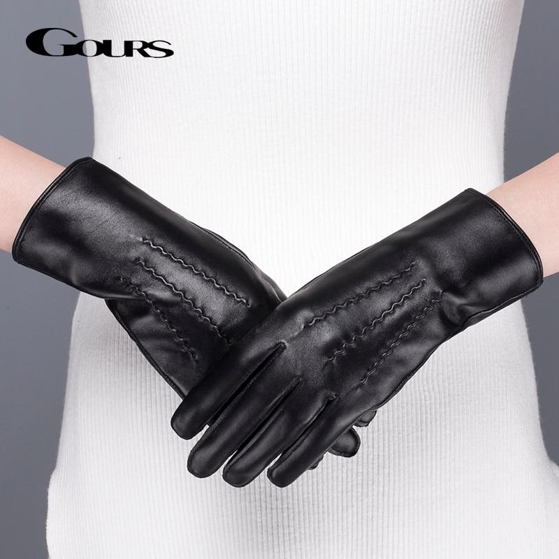Gours γνήσια δερμάτινα γάντια για τις γυναίκες Χειμώνας ζεστό μαύρο κλασικό δέρμα προβάτων δάχτυλο γάντια οθόνης αφής γάντια μόδας νέο GSL071