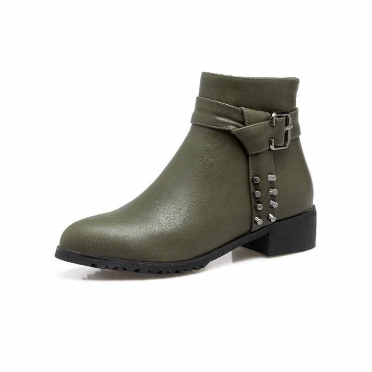 MLJUESE 2018 kadın botları fermuarlar karışık renkler kısa peluş yuvarlak ayak yüksek topuklu kışlık botlar boyutu 34-43 binici çizmeleri