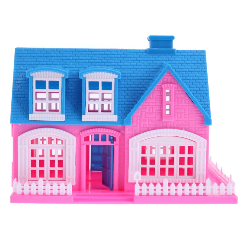 Plastic 3D Puzzled Dolls House Miniature Building House Villa Toys for Girls Accessories for Barbie Doll Kids Play Toy Gift