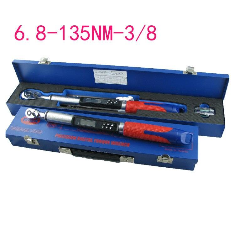 Affichage numérique de haute précision clé dynamométrique 6.8-135NM tête à cliquet 3/8 réglable clé dynamométrique 4 unités commutateur