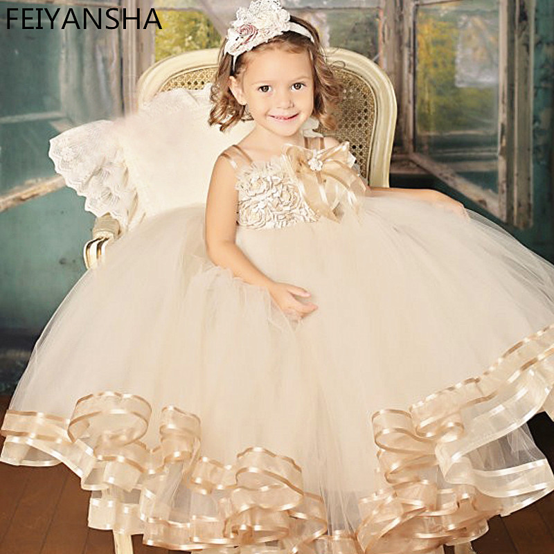 Vintage Champagne Pageant Flower Girl Dress Floor- Length Handmade Floral Girl Vestidos Party Gown Ball for Baby floral floor length plus size bandeau dress