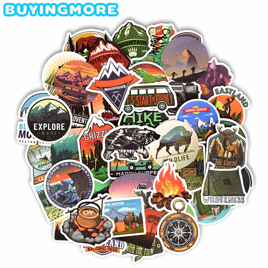 50 Pcs Camping Landschap Stickers Outdoor Adventure Klimmen Reizen Waterdichte Sticker Om Diy Koffer Laptop Fietshelm Auto