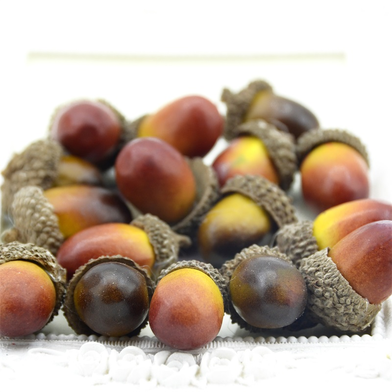 20pcs 3cm Cheap Mini Chestnut Artificial Flower Fake Foam Fruits Berries Flowers For Wedding Christmas Tree Decoration
