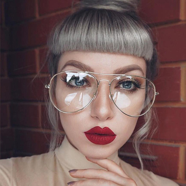 MOLGIRL Classic Gold Frame Clear Glasses Myopia Clear Frame Glasses ...