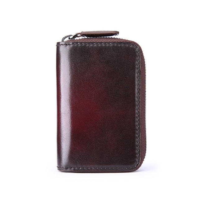 TERSE_Factory price solid key wallet handmade leather key holder with card holder 2 colors in stock engraving service OEM ODM