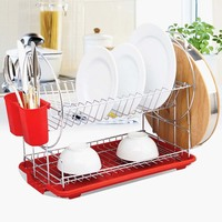 2 Tiers Stainless Steel Dish Rack Sink Drain Rack Kitchen Rack Supplies Storage Rack Pool to Dry Dishes Dish Shelf Hot Sale