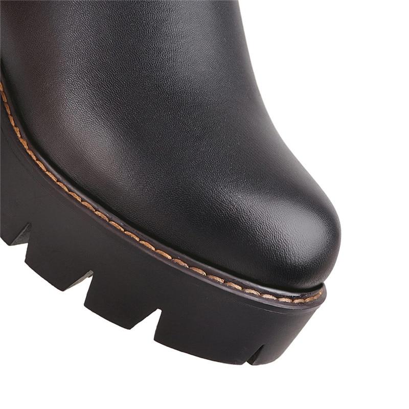 Hauts Plate 2018 Botas Genou D'équitation Longs Sur Overknee Chaussures D'hiver Au forme Des Bottes Noir Dames Talons Chunky Femmes Ymechic OwqdRzR