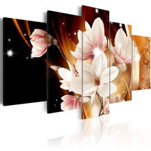 5 Pieces Canvas Painting Exquisite golden background with pink magnolia flower Decorative Paintings Wall Art Framed PJMT- (14)