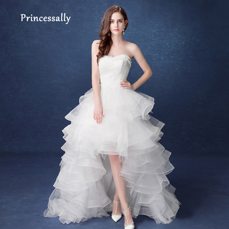 Simple Low Key Wedding Dresses: Simple High Low Wedding Gown Sexy Seetheart Off The