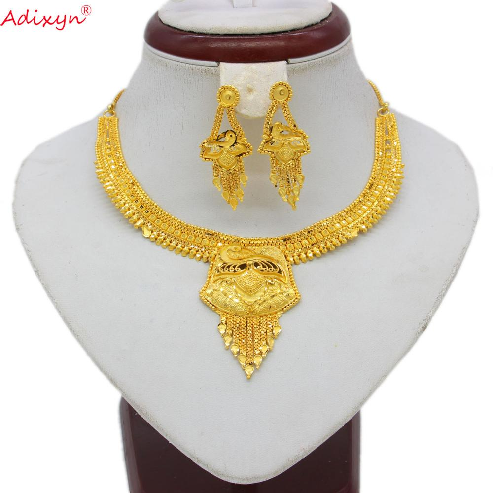 Adixyn Luxury Tassel Necklace&Earrings Jewelry Set for Women Gold Color Jewelry Ethiopian/Arab Wedding/Party Item N060810(China)