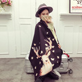 2016 Christmas Gift Womens Scarfs Fashionable Cashmere Wool Scarves Folk-custom Christmas Deer Vintage Jacquard Warm Soft Scarf