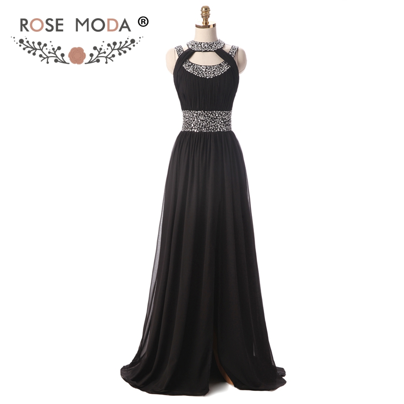 Rose Moda Halter Black Prom Dress with Front Slit Sequined Cut Out ...