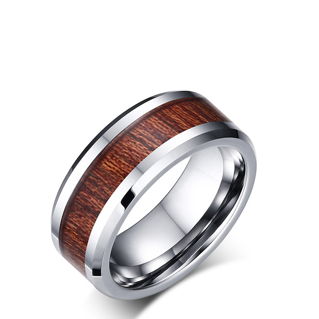 dark wood inlay silver color 100 tungsten ring men jewelry 8mm wedding band us size