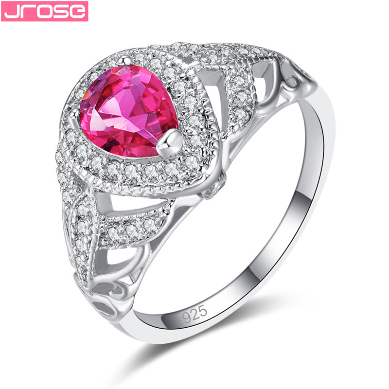 bling-bling-store Beiver Double Heart Rainbow CZ Ring in Rhodium Plated Wedding Bands AAA Zircon Jewelry