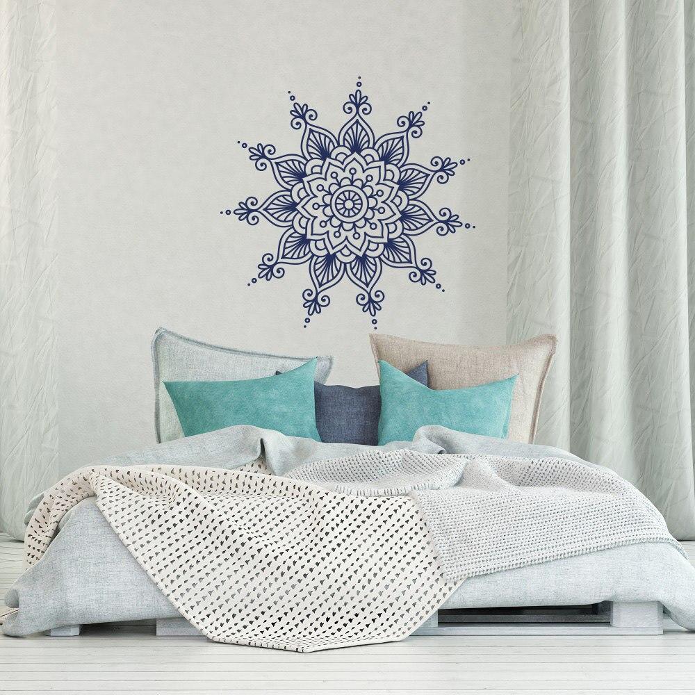 ᗔFresco del copo de nieve patrón mandala flor silueta pared del ...