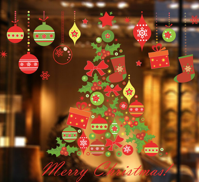 2018 christmas tree showcase window glass sticker christmas party decoration store wallpaper bathroom stick