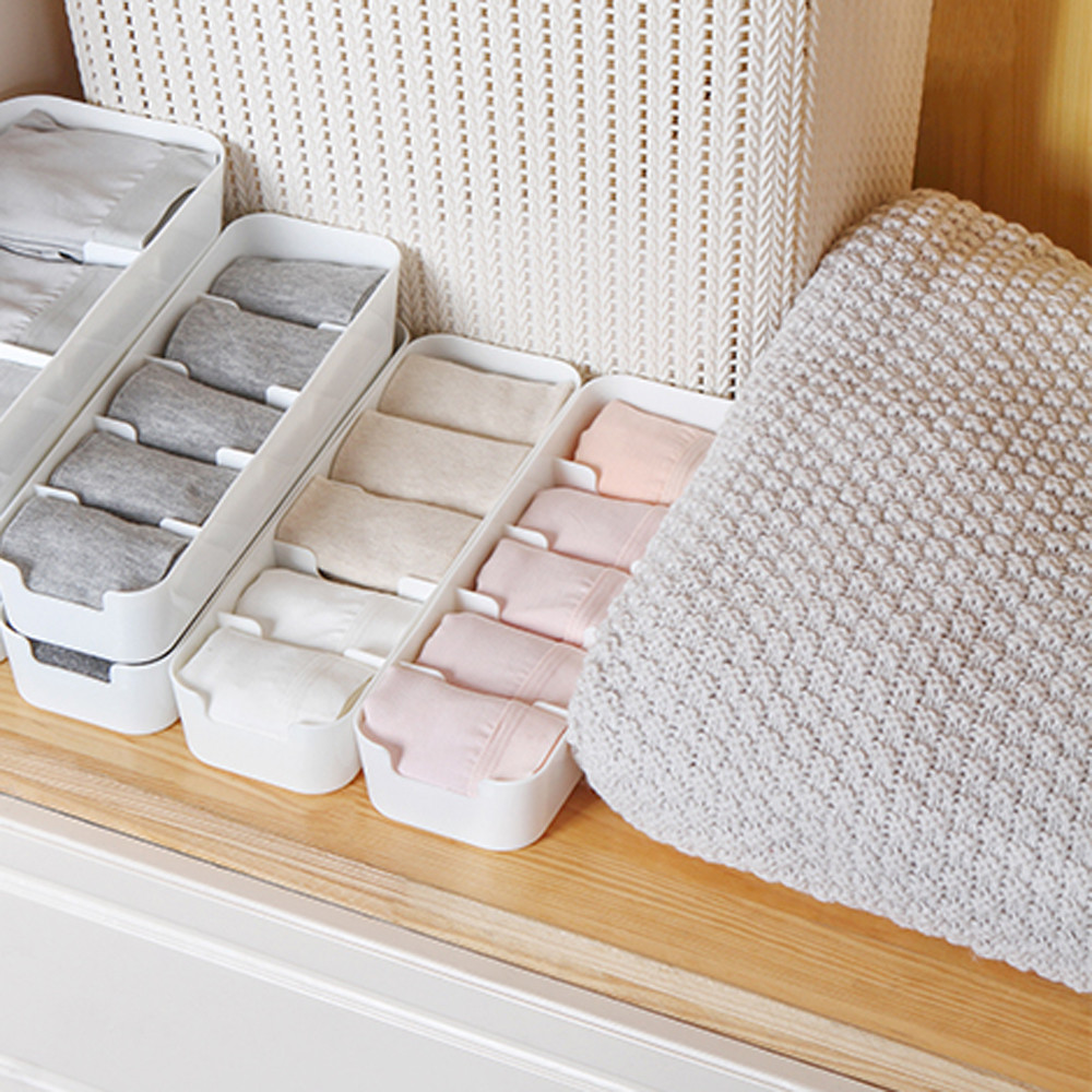 3 and 5 Cells Plastic Organizer Storage Box Tie Bra Socks Drawer Cosmetic Divider make up storage organizer plastic box home