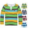 De alta Qualidade Da Marca Meninos camisetas Roupa Das Crianças T-shirt Do Bebê Crianças Roupas de Manga Longa de Algodão Listrado camiseta Baby Boy