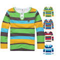 High Quality Branded Boys T shirts Children Clothing  Baby T-shirt Kids Clothes Long Sleeve  Striped Cotton Baby Boy T shirt