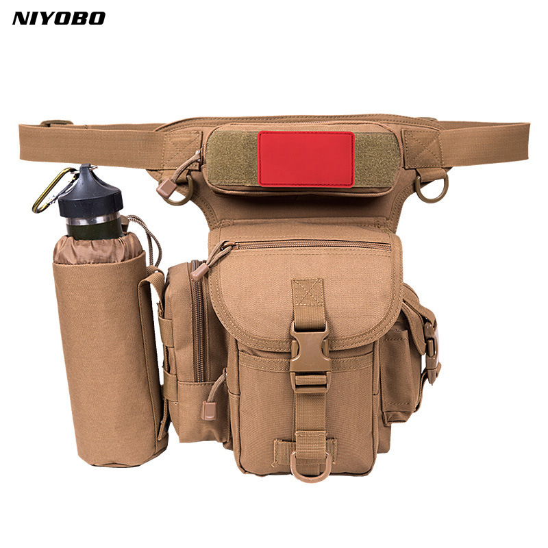 NIYOBO multi-fonction imperméable toile taille sac hommes Fanny Pack Camouflage poche argent ceinture taille cuisse goutte jambe sac