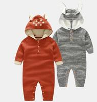 2017 Wholesale Autumn Winter Fashion Baby Cotton Hooded Knit Fox Rompers Baby Jumpsuits