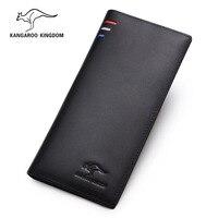 KANGAROO KINGDOM luxury brand men wallets genuine leather long slim bifold wallet card holder with zipper pocket