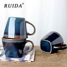RUIDA Handmade Ceramic Coffee Tea Milk Mug High Quality Brief Pottery Cups and Mugs with Handgrip Personality Cup Drinkware Gift